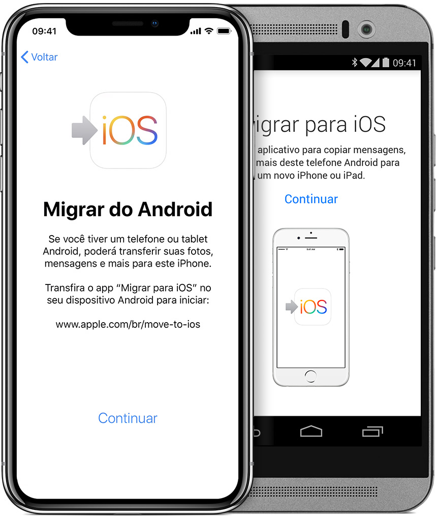 telas mostrando o app Migrar para iOS no iPhone e no Android