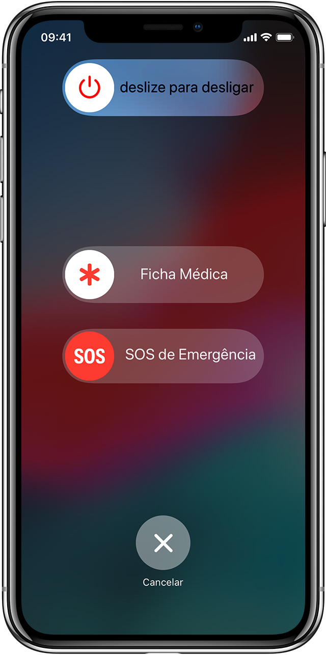 Tela do recurso SOS de Emergência no iPhone X