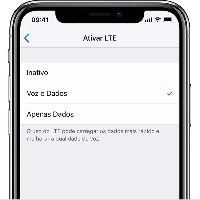 Sobre as opções do LTE no iPhone - Suporte da Apple