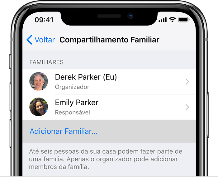 Tela Compartilhamento Familiar no iPhone