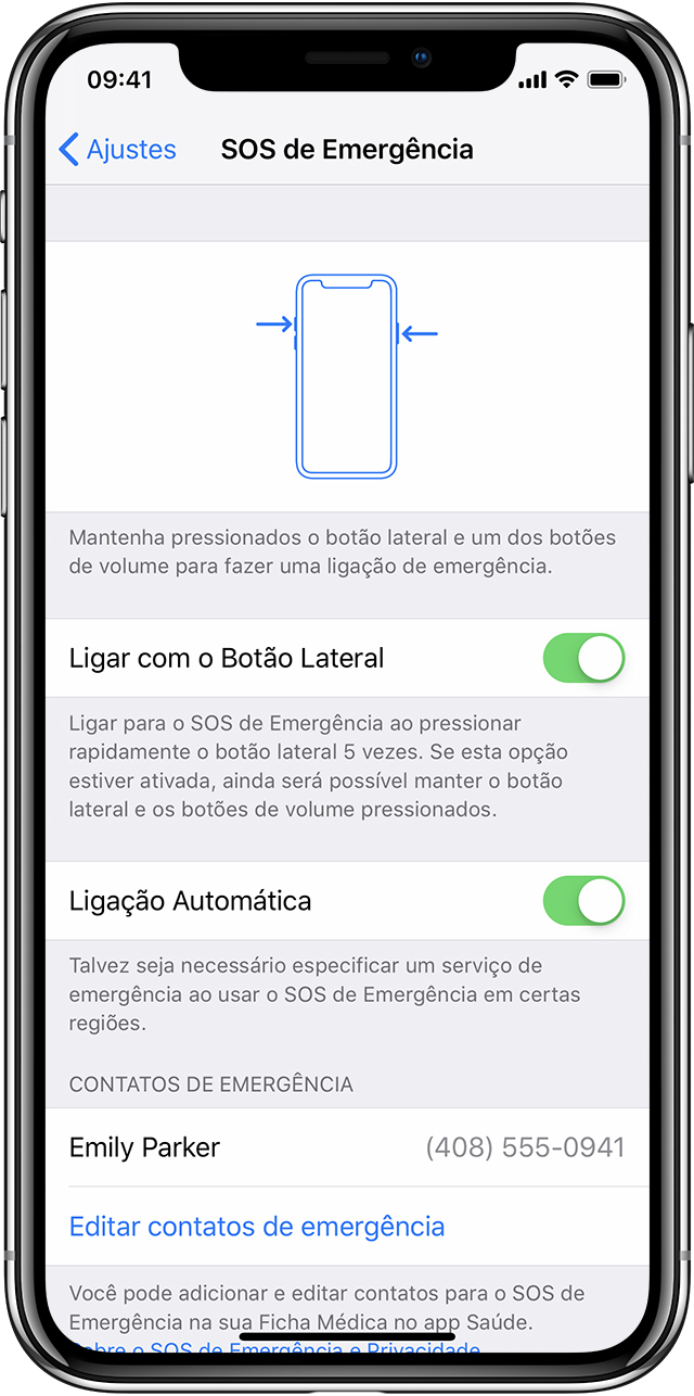 Ajustes do SOS no iPhone X