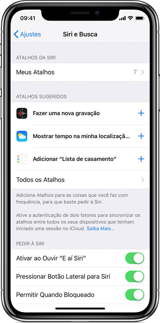 f31e08c3dff33 Usar os atalhos da Siri - Suporte da Apple