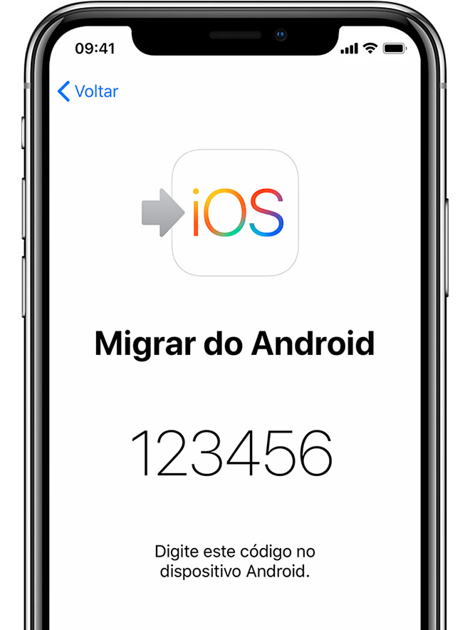 tela Migrar do Android no iPhone mostrando o código