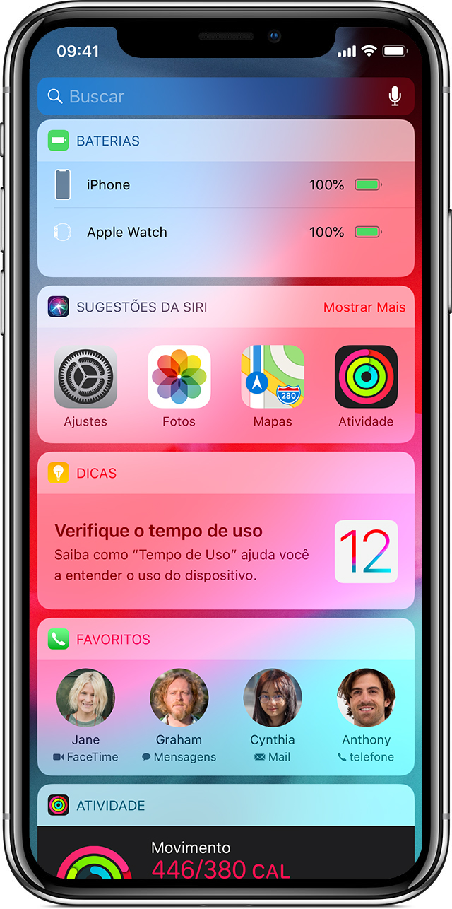 tela mostrando widgets no iPhone X