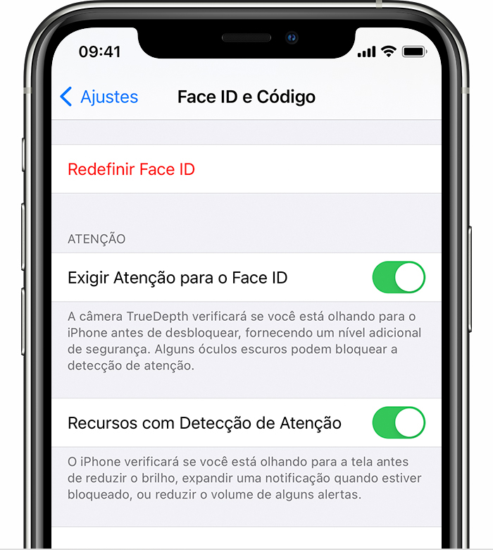Ajustes do Face ID e do código de acesso do iPhone. Os