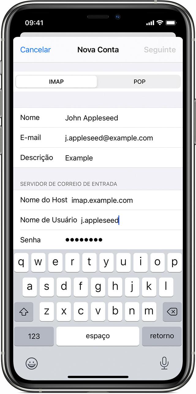 iPhone mostrando como inserir ajustes da conta