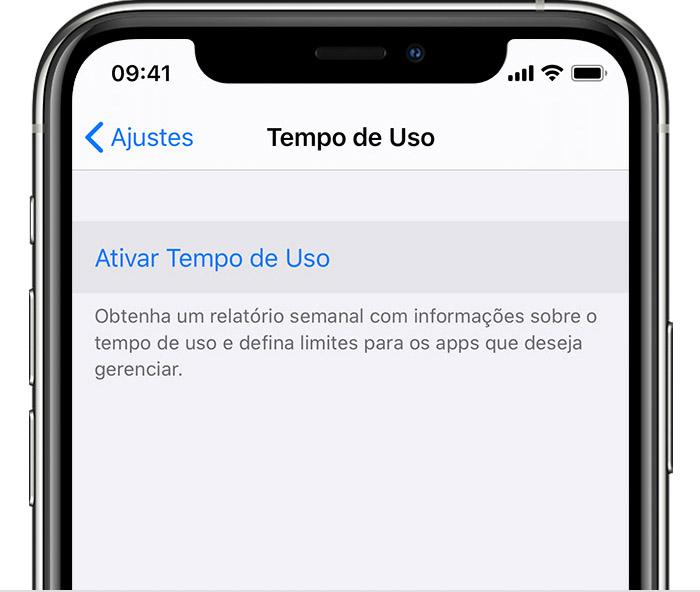 Ajustes do iPhone com a opção