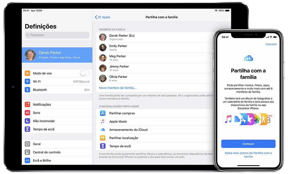 Configurar o Compartilhamento Familiar - Suporte da Apple 936bacca24