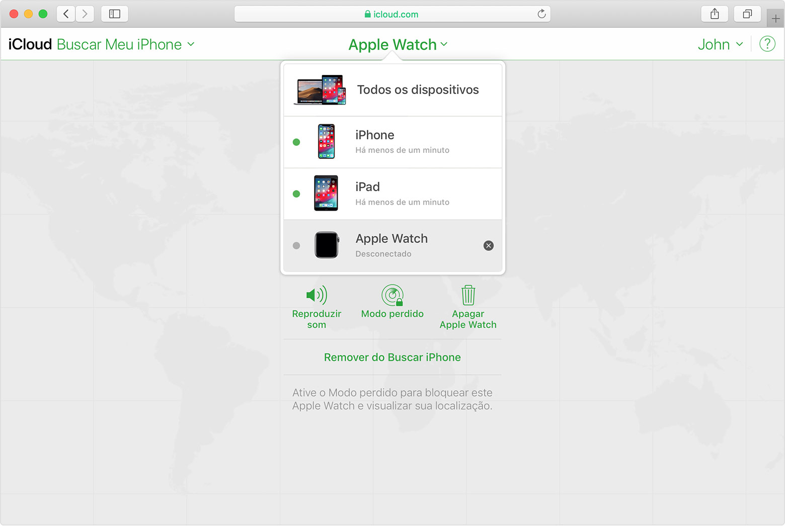 Buscar iPhone no iCloud mostrando o Apple Watch de João