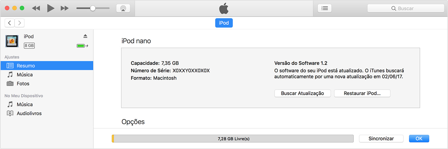 Encontrar o iPod no iTunes