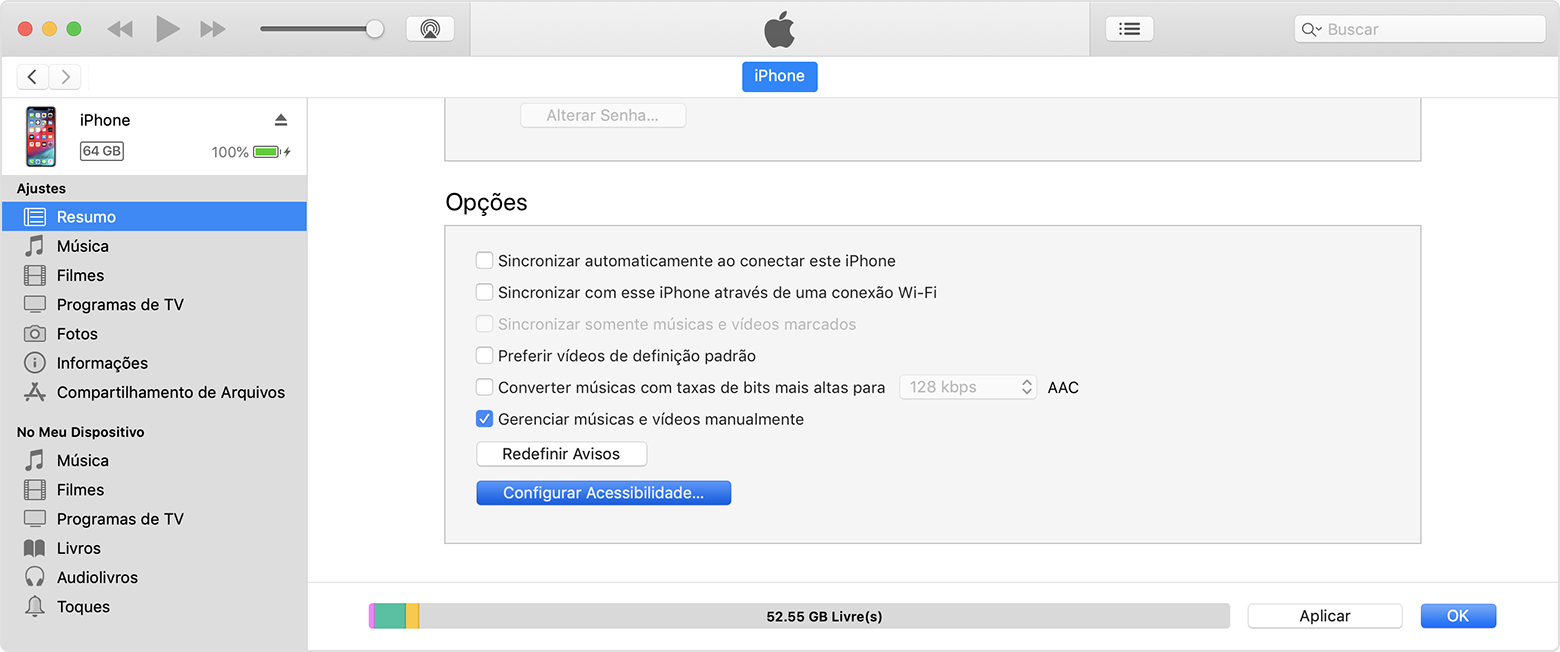 Desativar o Zoom no iTunes