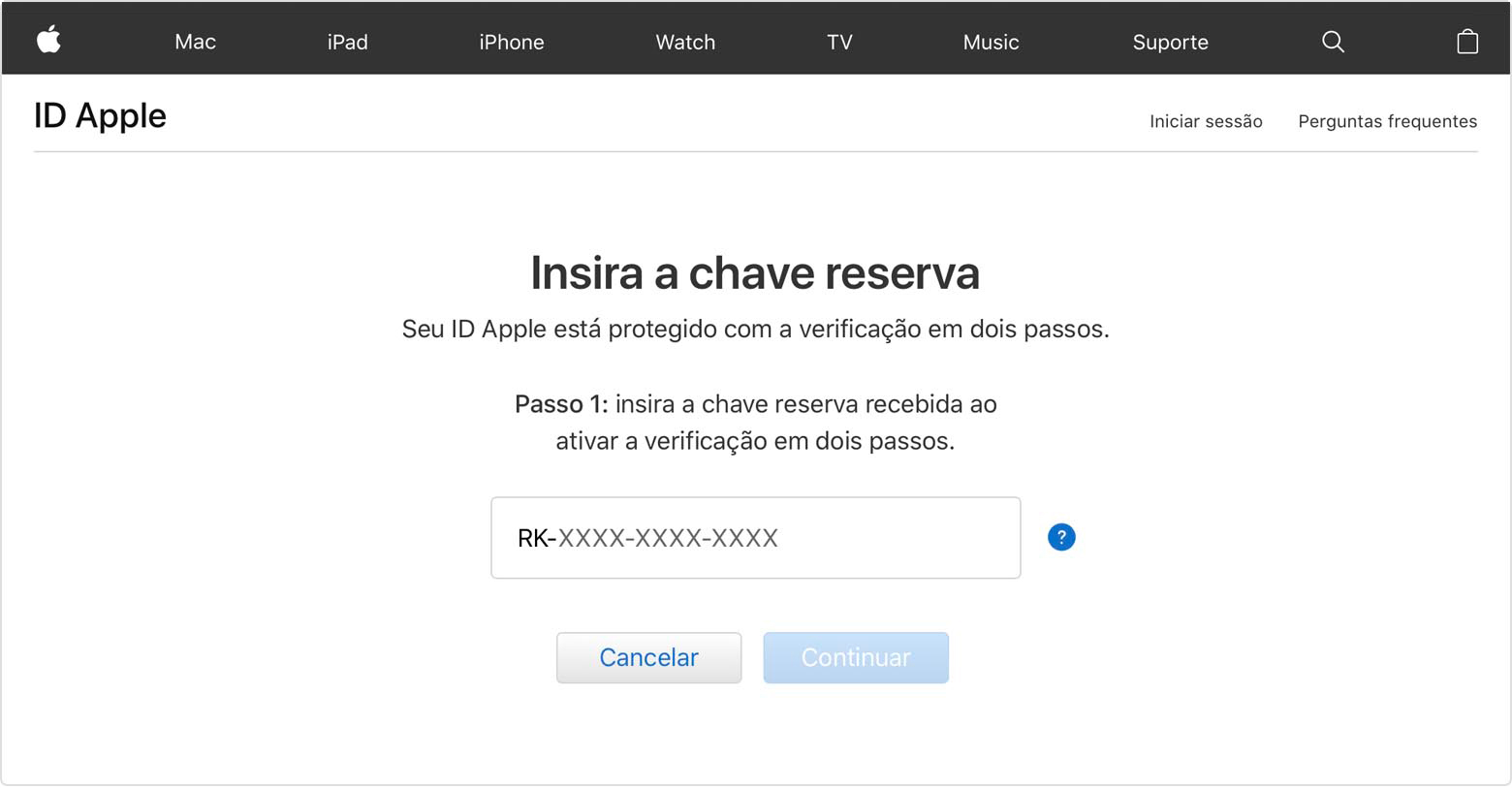 Tela do ID Apple mostrando