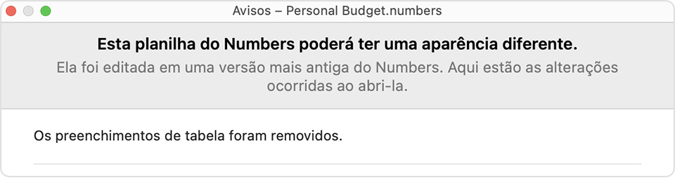 Aviso do Numbers: