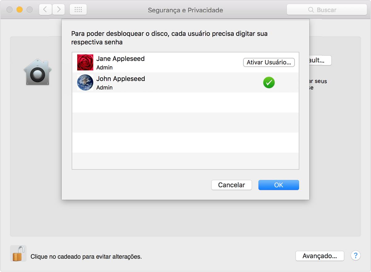 46716adb6a Cada usuário deve clicar no botão Ativar Usuário e inserir a senha do  usuário. As contas de usuários adicionadas após ativar o FileVault são  ativadas ...