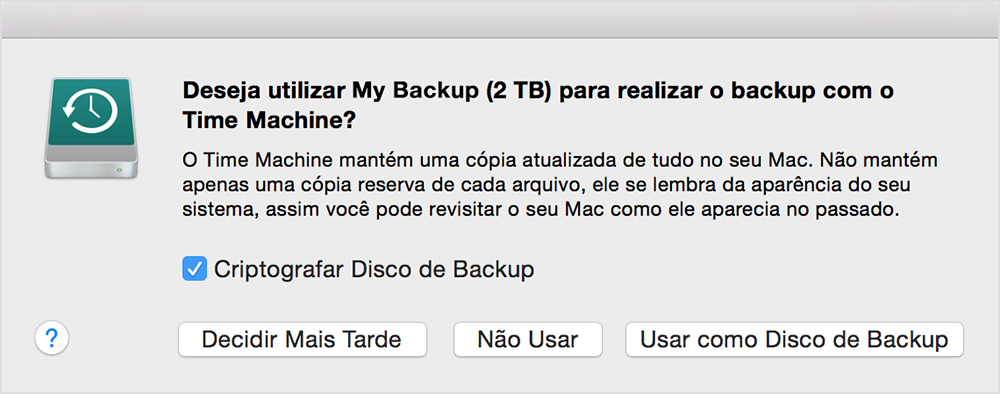 Como usar o time machine para fazer backup ou restaurar o mac se o time machine no solicitar a escolha de um disco de backup quando voc conectar o disco ao mac fandeluxe Choice Image