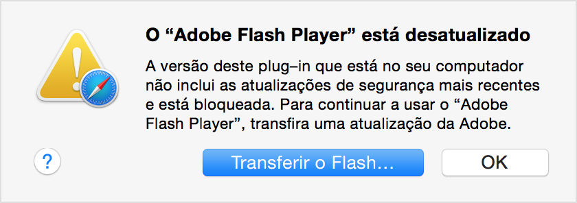 Atualizaes do adobe flash player disponveis para o macos em 1 de mensagem de plug in desatualizado reheart Choice Image