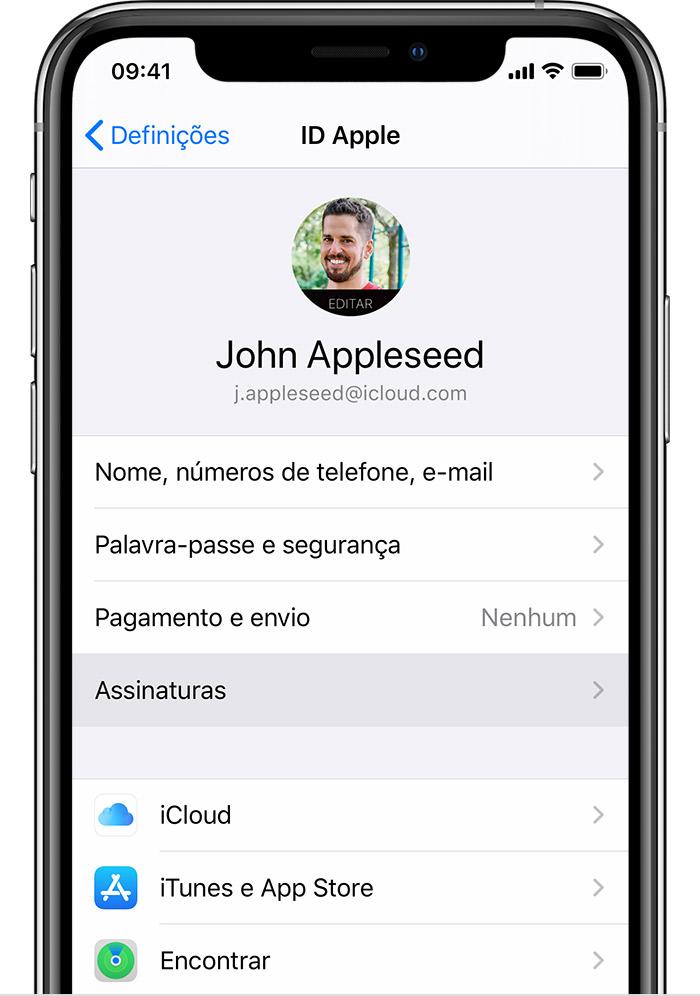 iPhone a mostrar onde pode encontrar as assinaturas nas Definições.