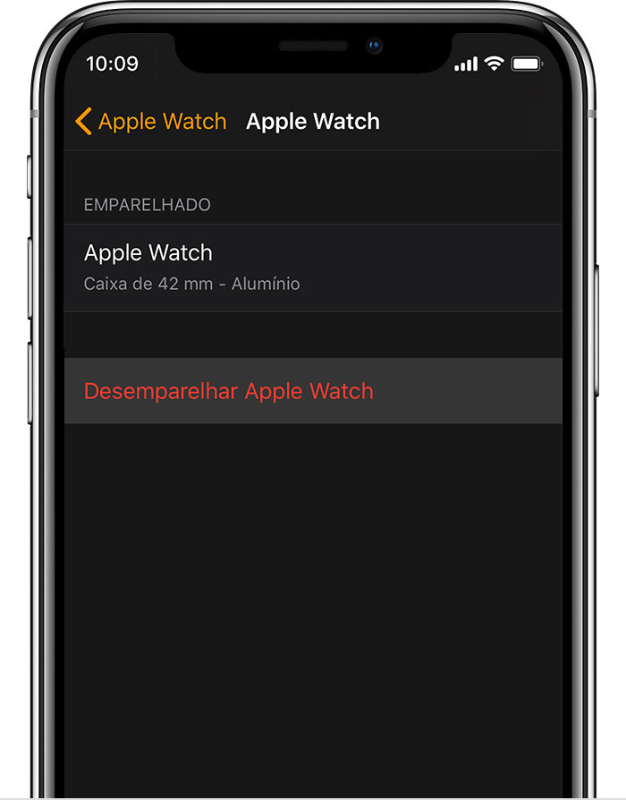 Ecrã do Apple Watch no iPhone a mostrar detalhes do Apple Watch em alumínio do John.