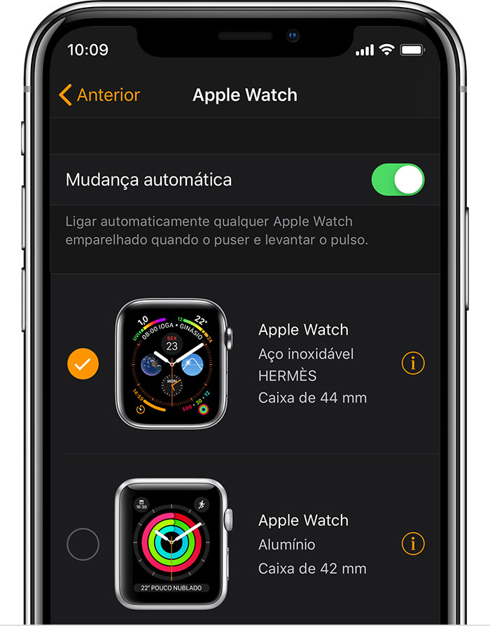 Apple Watch de 42 mm em alumínio do John na app Watch.