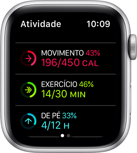 Metas de Movimento, Exercício e De pé no Apple Watch.