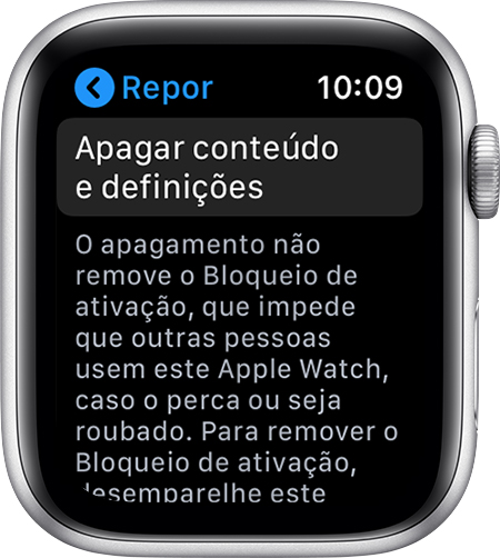 Ecrã Repor no Apple Watch.