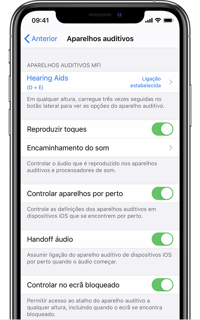 Ecrã Aparelhos auditivos MFi no iPhone