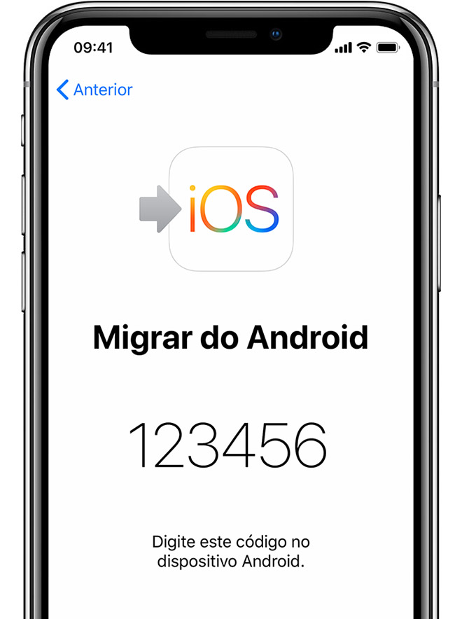 Ecrã Migrar do Android no iPhone a mostrar um código