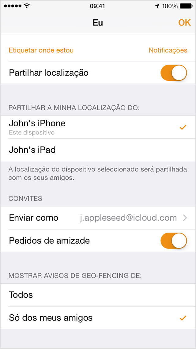 Partilhar a partir do iPhone ou do iPad do João