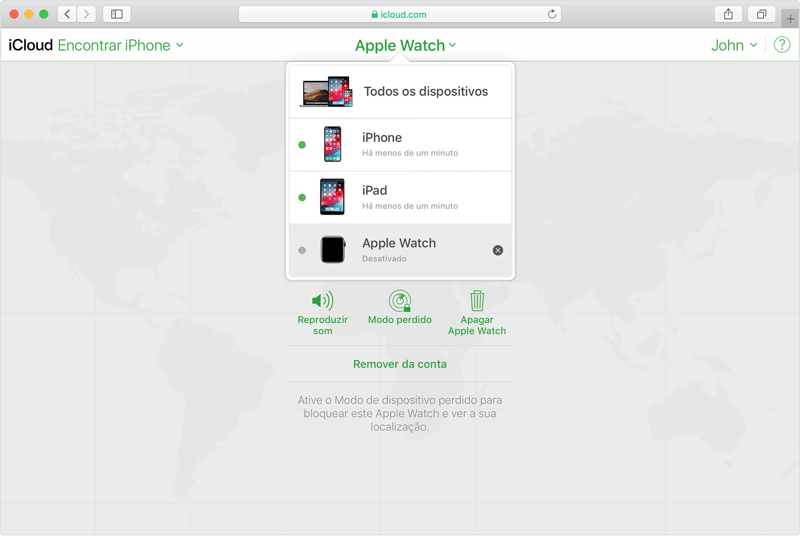 App Encontrar iPhone do iCloud a mostrar o Apple Watch de João