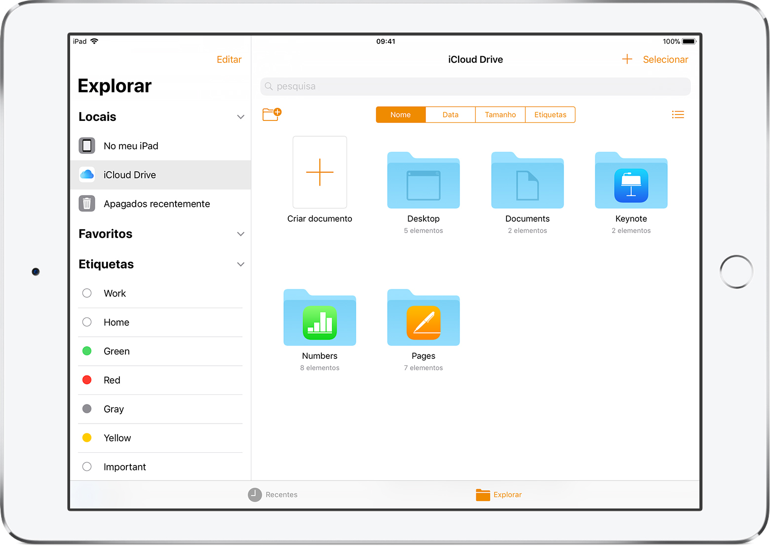 Organizar documentos do Pages, Numbers e Keynote no iPad