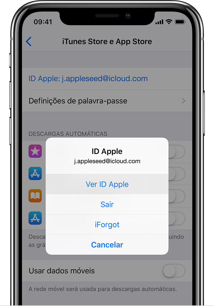 Ecrã do iTunes e App Store no iPhone a mostrar a opção Ver ID Apple