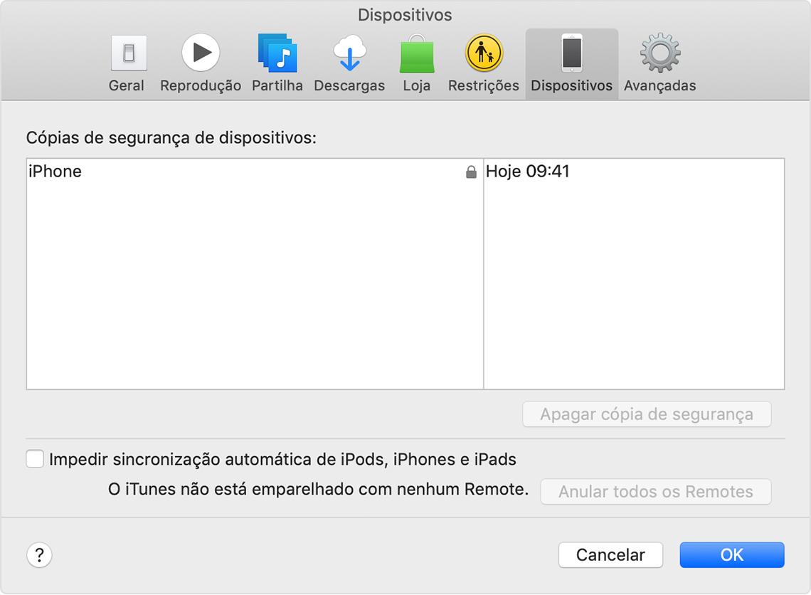 Preferências de dispositivos a mostrar a cópia de segurança de um dispositivo com o nome iPhone do John.