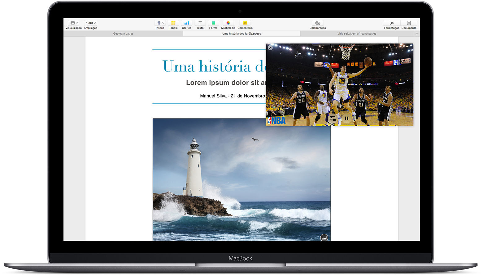Mac com a janela Picture-in-Picture