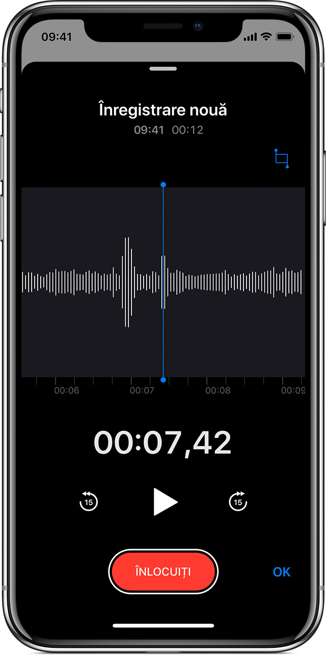 un memo vocal în curs de editare pe iPhone