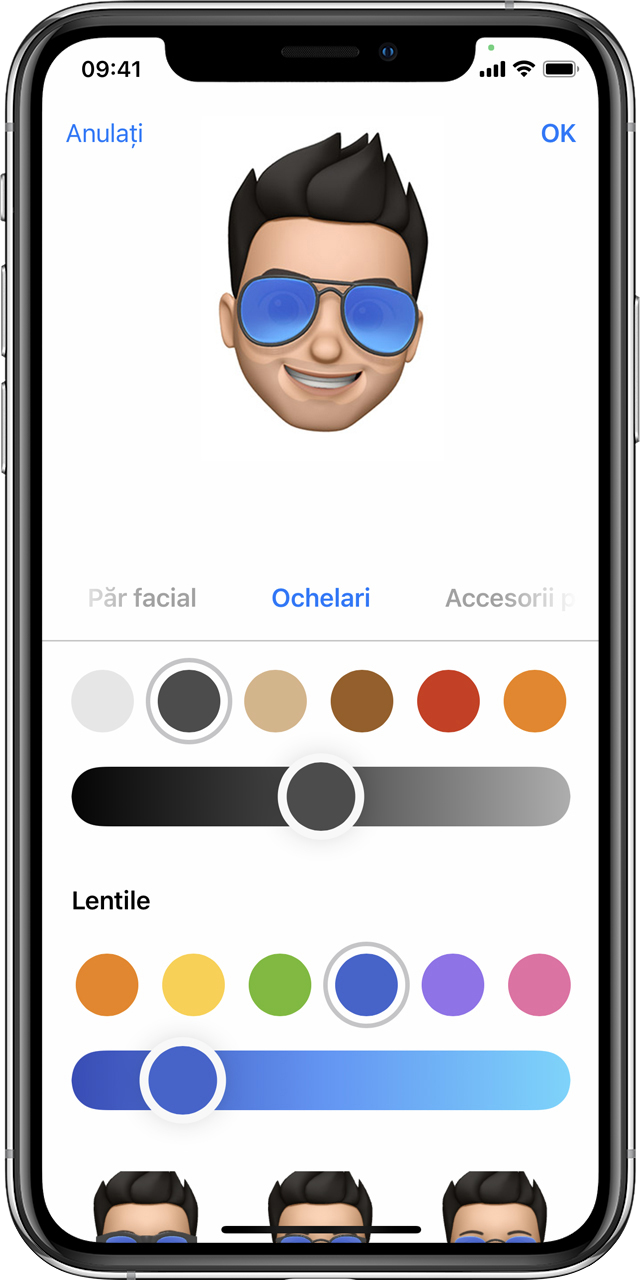 iPhone care afișează modul de creare a unui Memoji