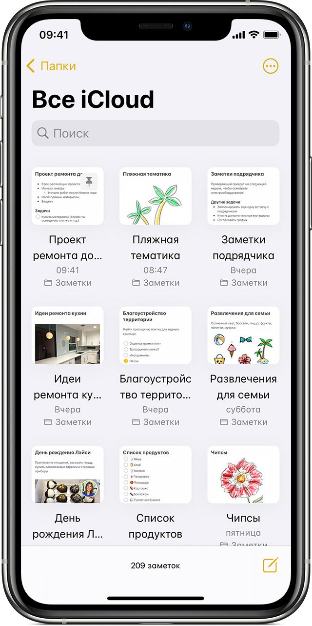 Пример отображения заметок в представлении «Галерея» на iPhone.