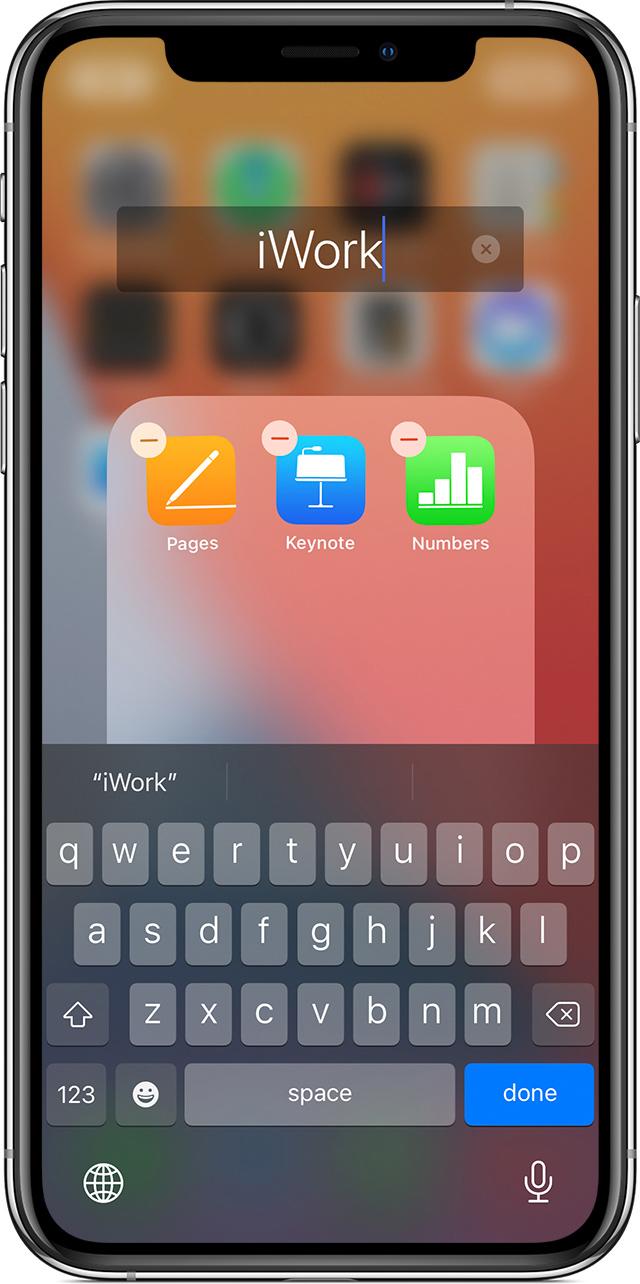 Экран iPhone и задание имени папки