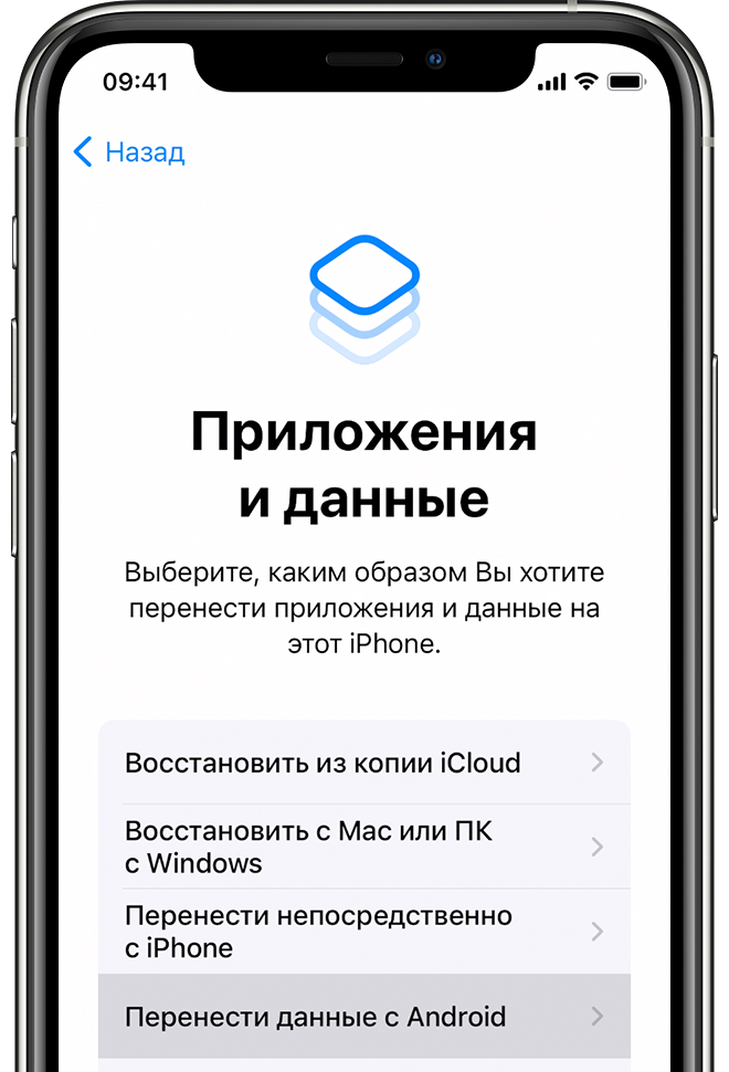 Экран «Приложения и данные» на iPhone