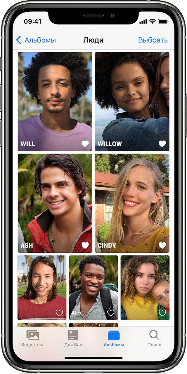 Пример того, как добавить человека в «Избранное» на iPhone