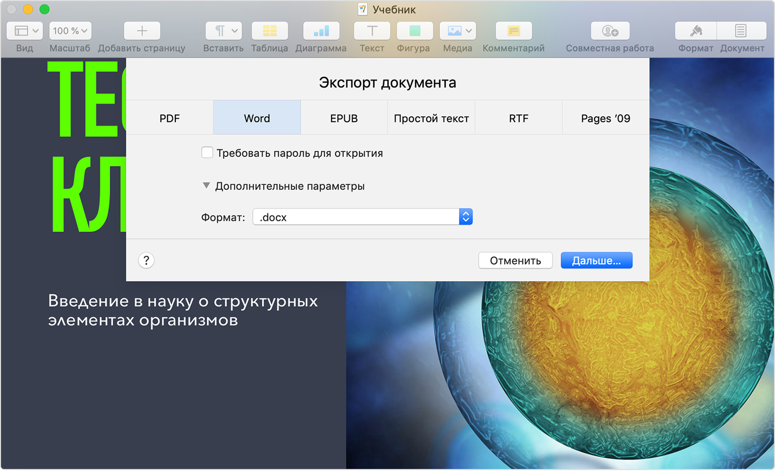 Конвертация документов Pages в формат PDF, Microsoft Word и другие