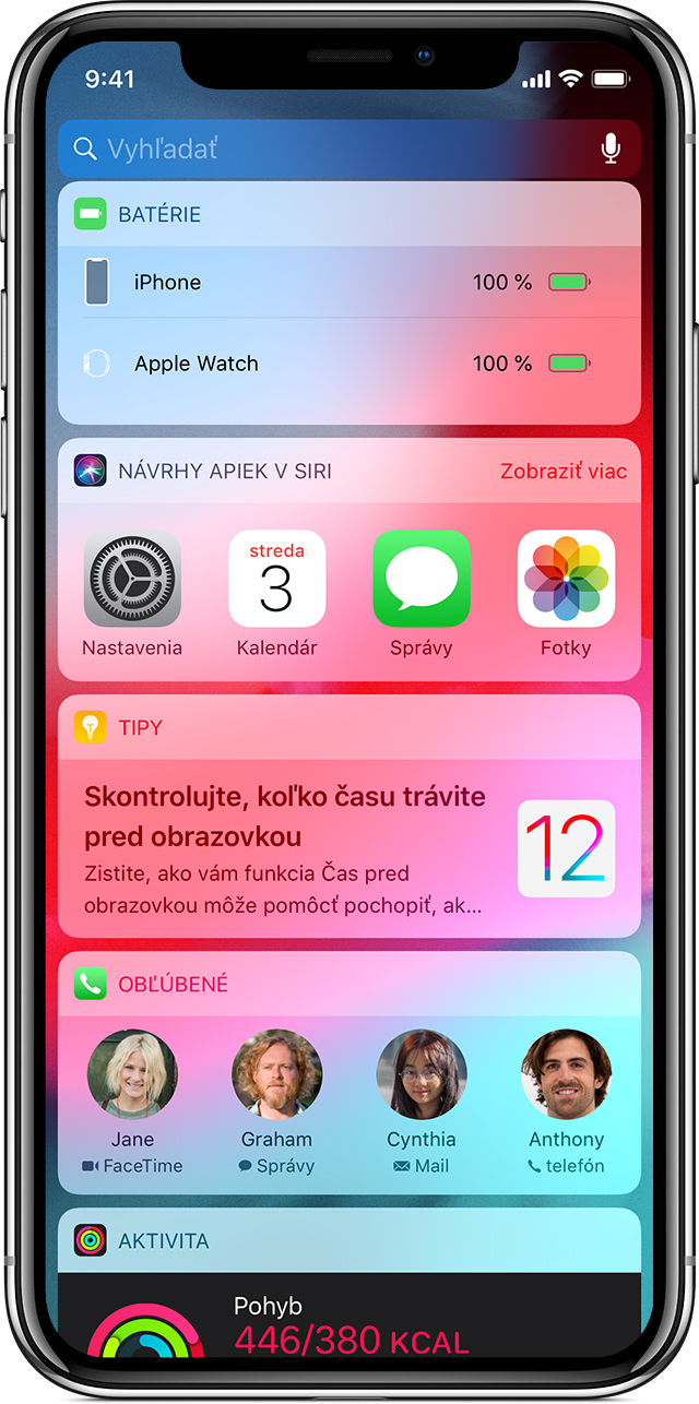 Obrazovka s widgetmi na iPhone X