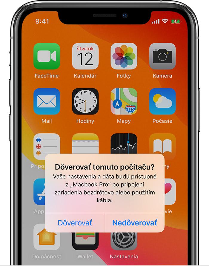 Pripojiť iPhone na synchronizáciu