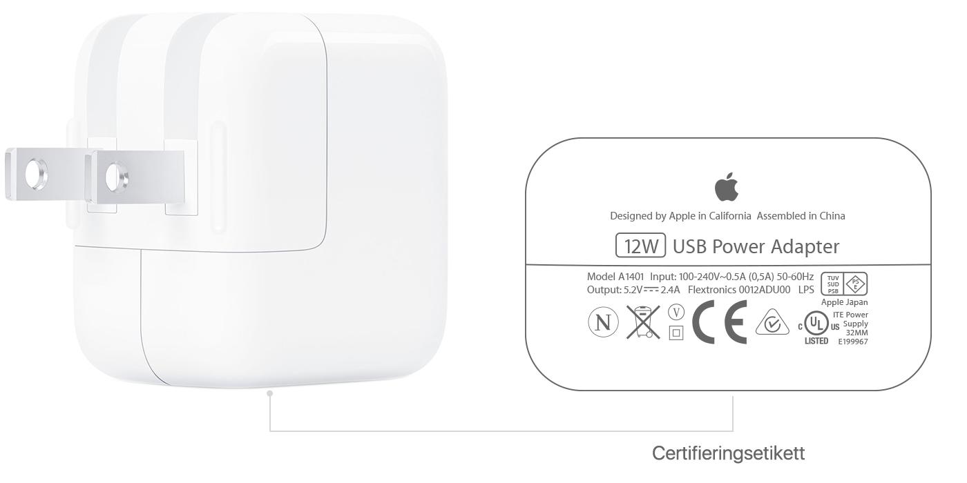 Om usb strömadaptrar från Apple Apple support