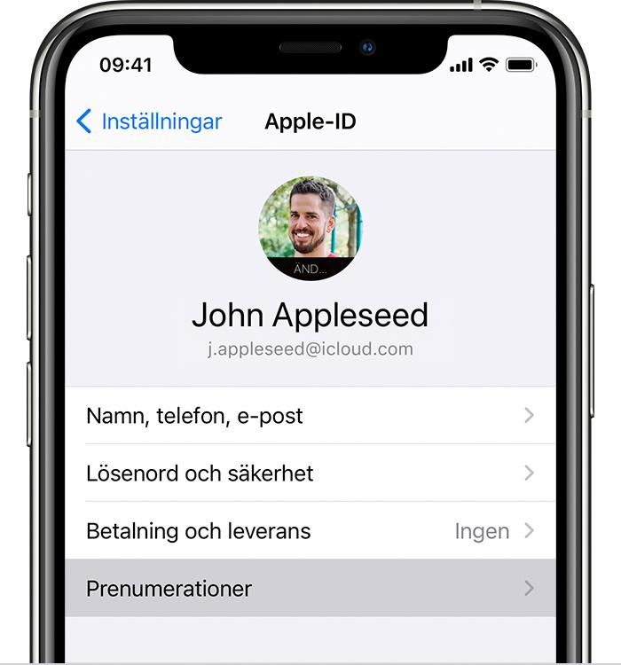 iPhone som visar menyalternativet Prenumerationer i Inställningar.