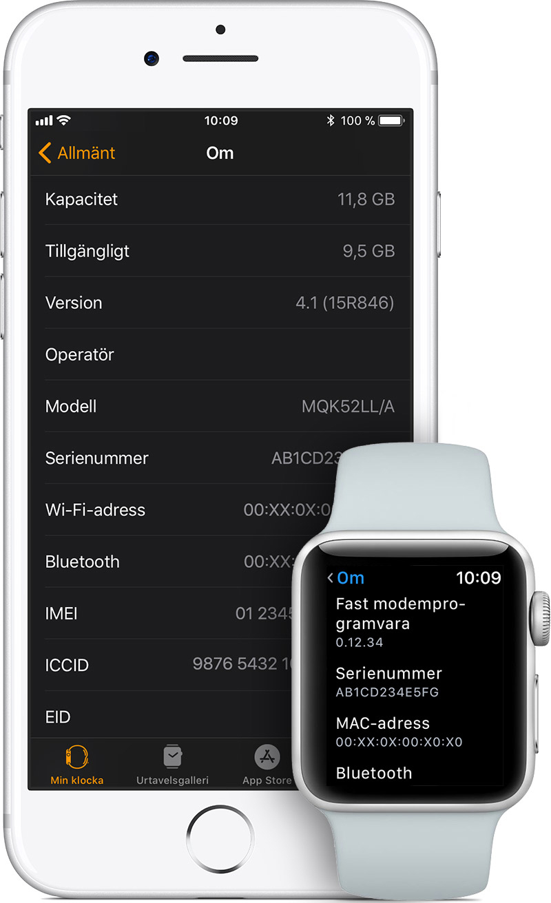 Om skärmen på iPhone och Apple Watch