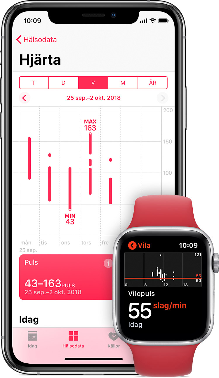 Mätning av puls i appen Hälsa på iPhone och vilopuls i appen på Apple Watch.