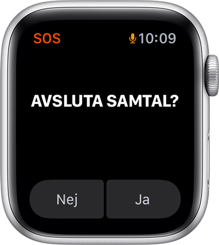 Alternativet Avsluta samtal på Apple Watch.