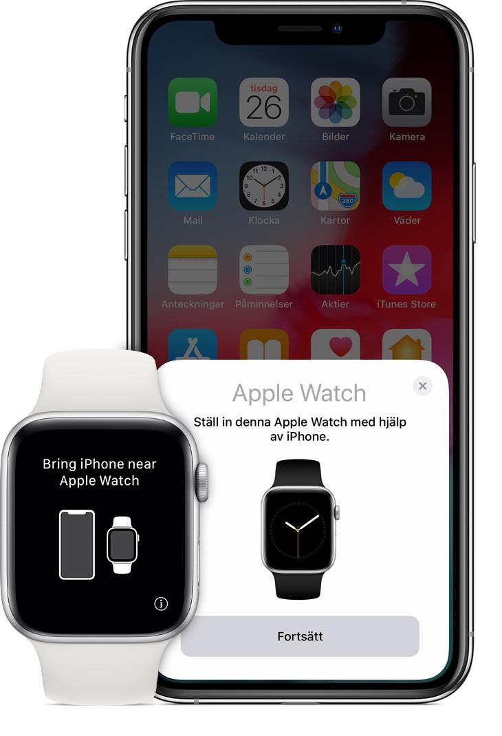 """Meddelandet """"Håll iPhone nära Apple Watch"""" på klockan. 3130a9a2acc87"""