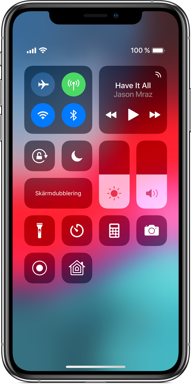 Kontrollcenter på iPhone X