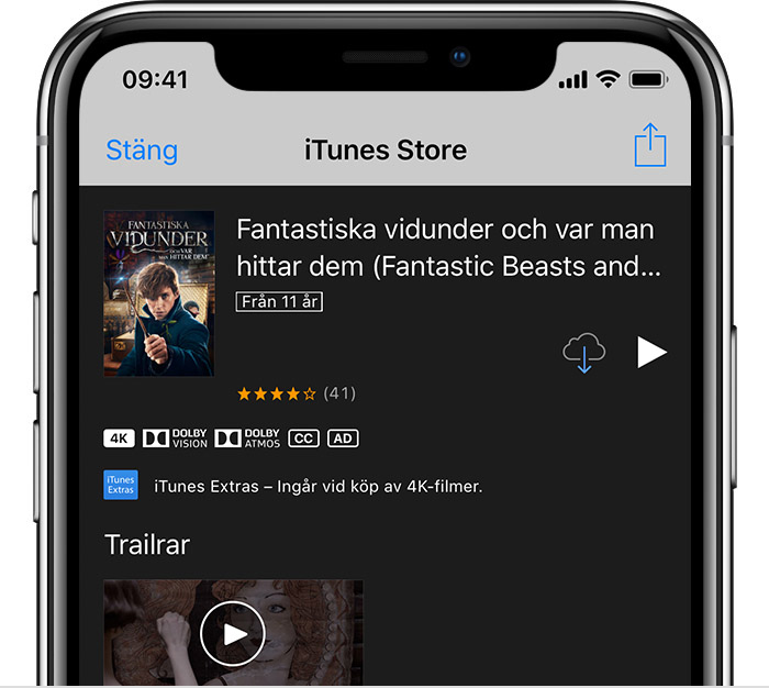 iPhone visar information om Justice League i iTunes Store.